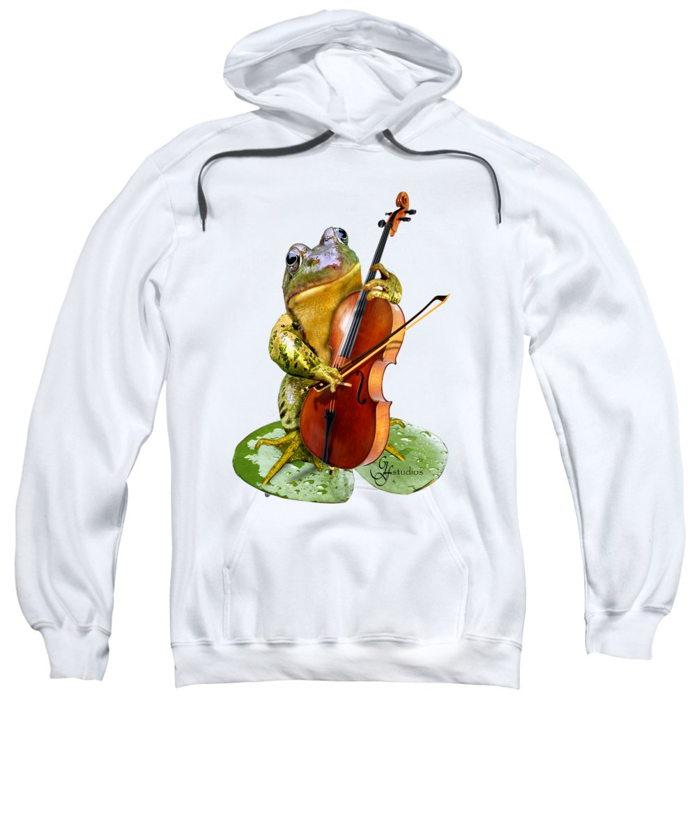 Humorous Scene Frog Playing Cello In Lily Pond Sweatshirt featuring the painting Humorous Scene Frog Playing Cello In Lily Pond by Regina Femrite