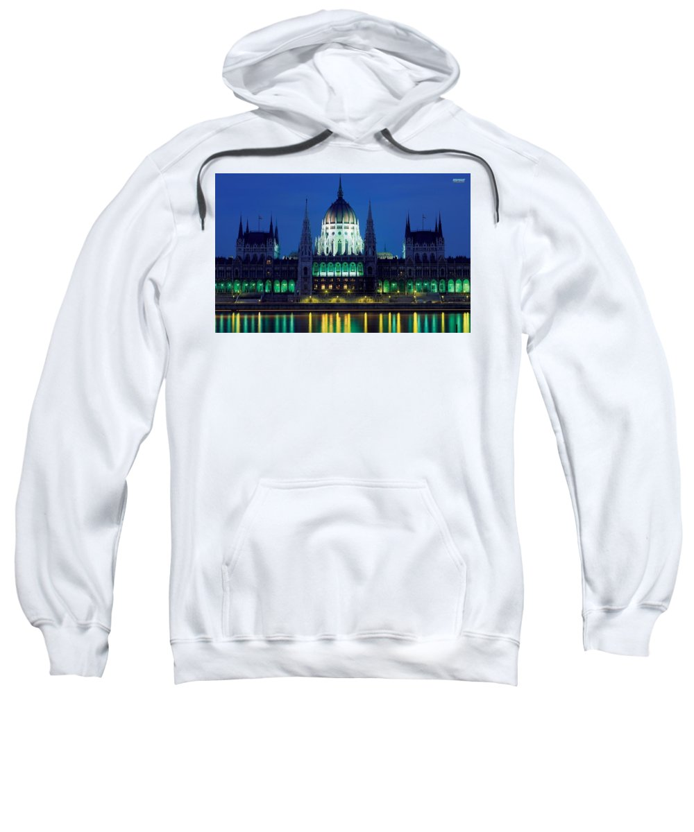 Hungarian Parliament Building Sweatshirt featuring the digital art Hungarian Parliament Building by Bert Mailer
