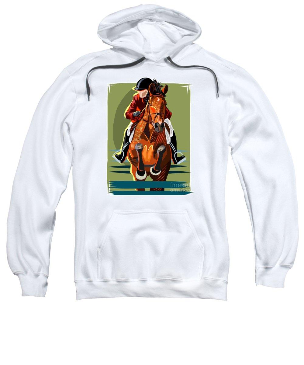 Equine Sweatshirt featuring the painting Hunter Jumper by Dania Sierra