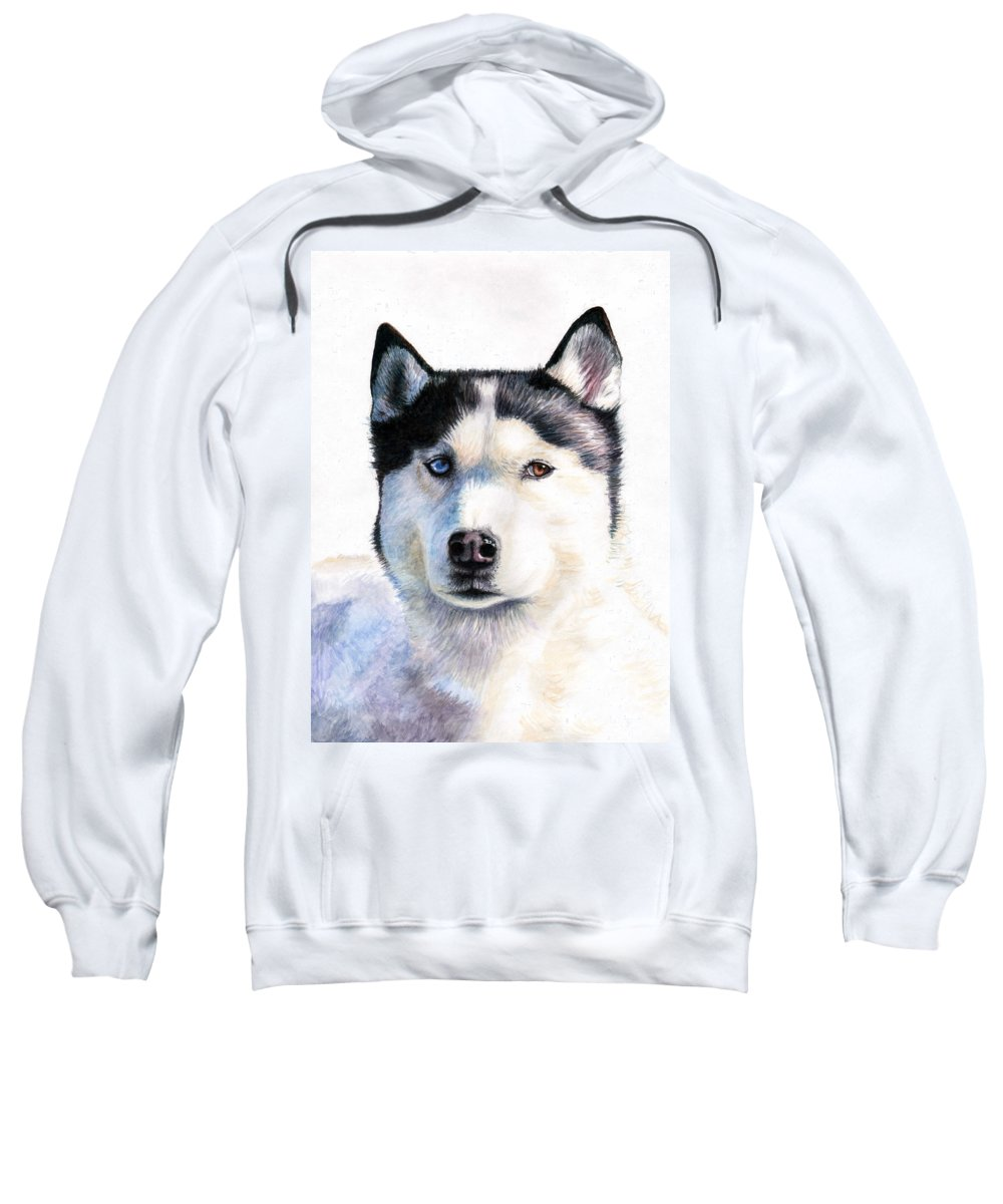 Dog Sweatshirt featuring the painting Husky Blue by Nicole Zeug