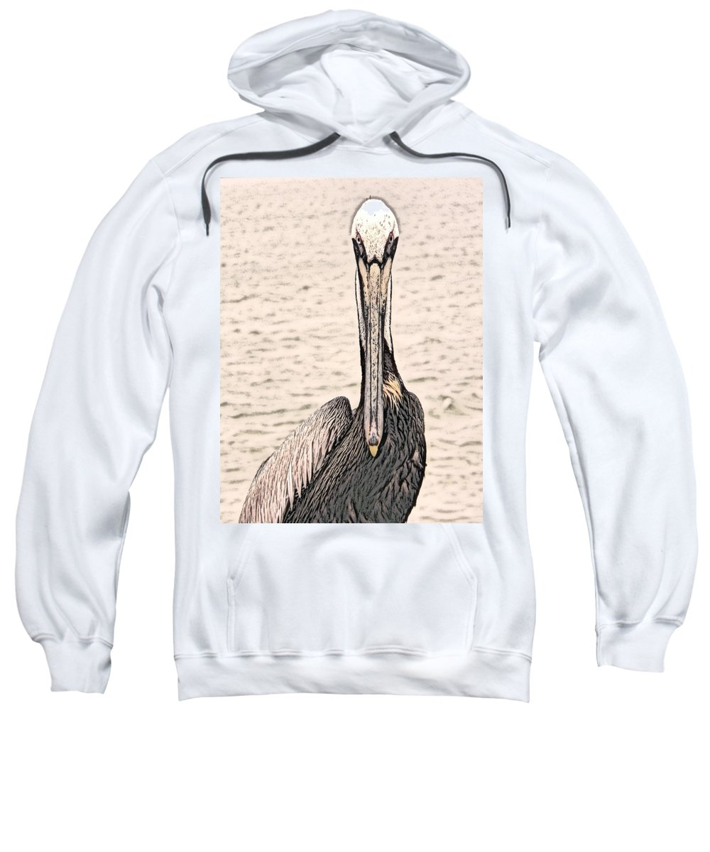 Brown Pelican Sweatshirt featuring the photograph I See You Too by Steven Sparks