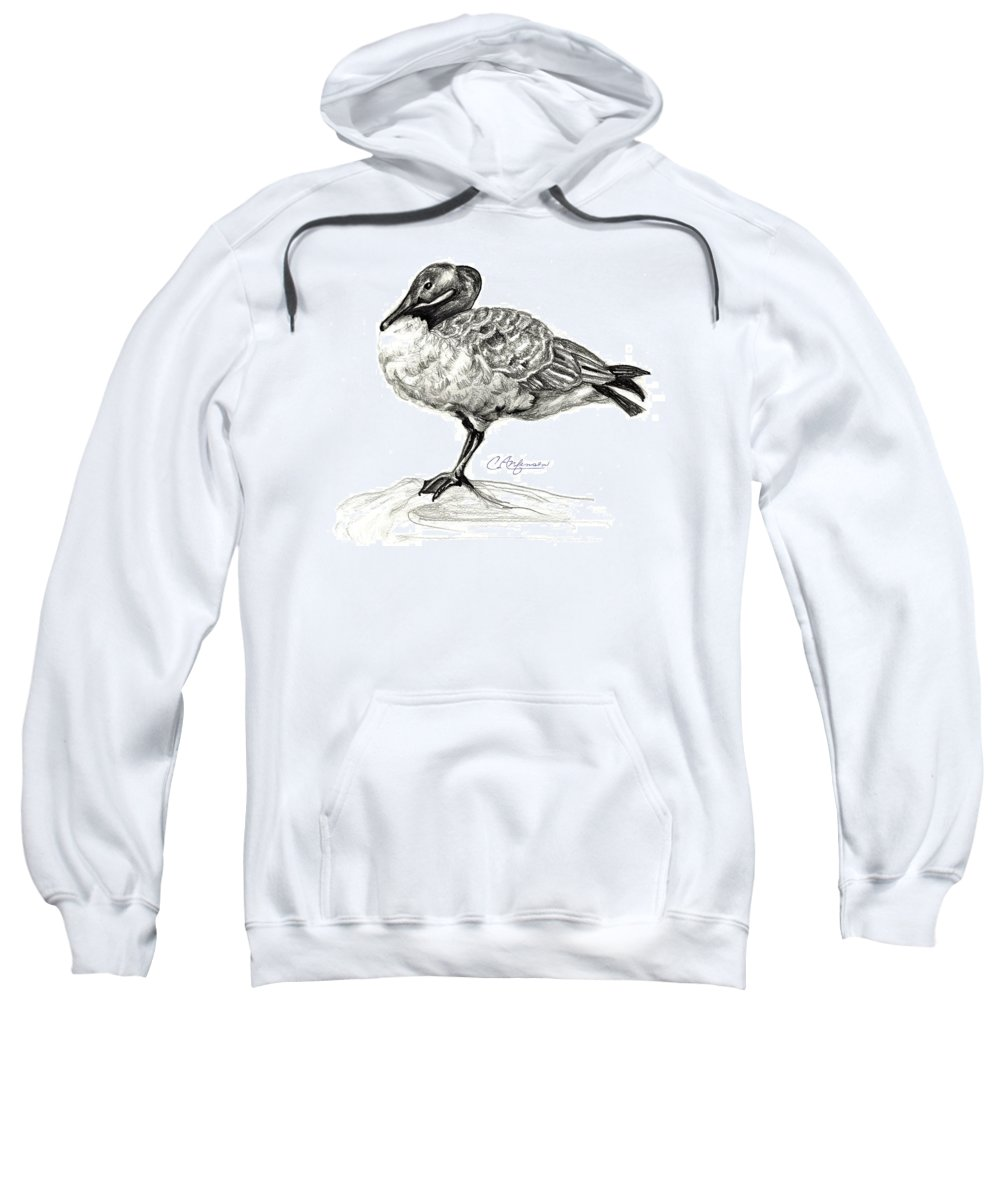 Canadian Goose Sweatshirt featuring the drawing I Stand On The Brink by Carol Allen Anfinsen