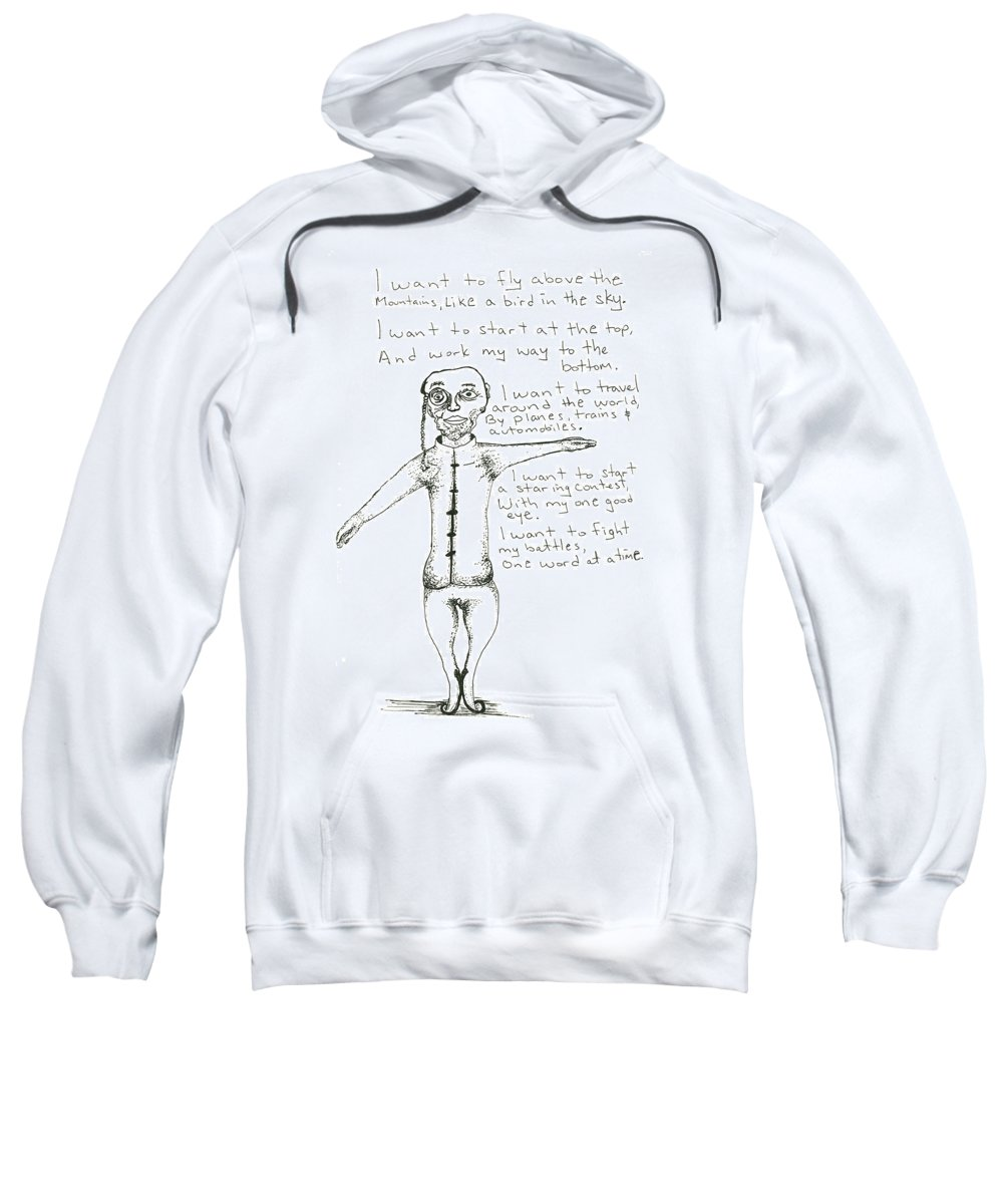 Drawing Sweatshirt featuring the drawing I Want To Fly by Michael Mooney