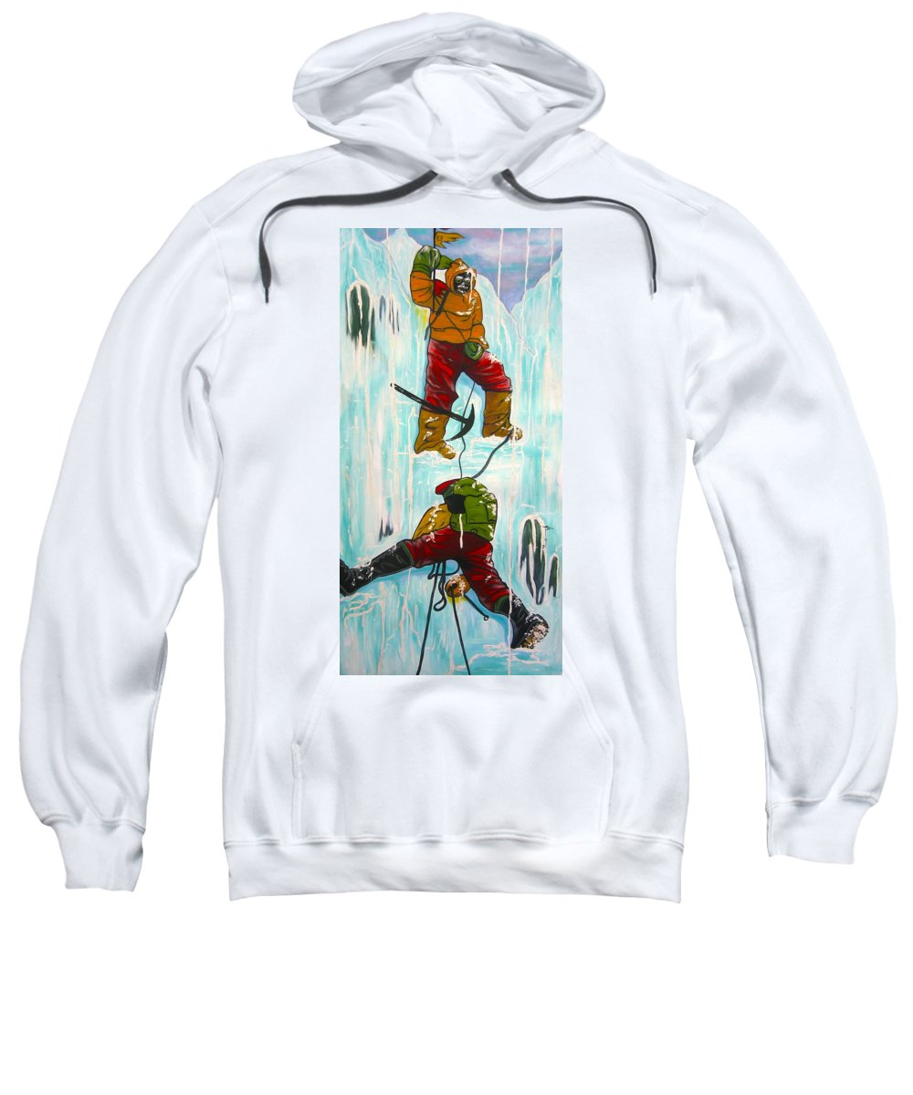 Abstract Sports Sweatshirt featuring the painting Ice Climbers by V Boge