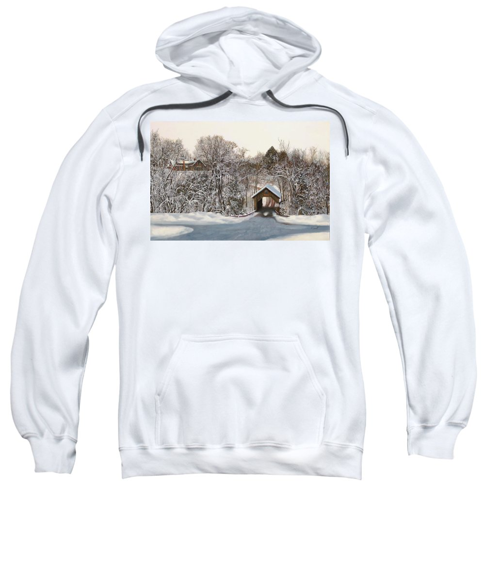 Stowe Sweatshirt featuring the painting Il Ponte Coperto Di Legno by Guido Borelli