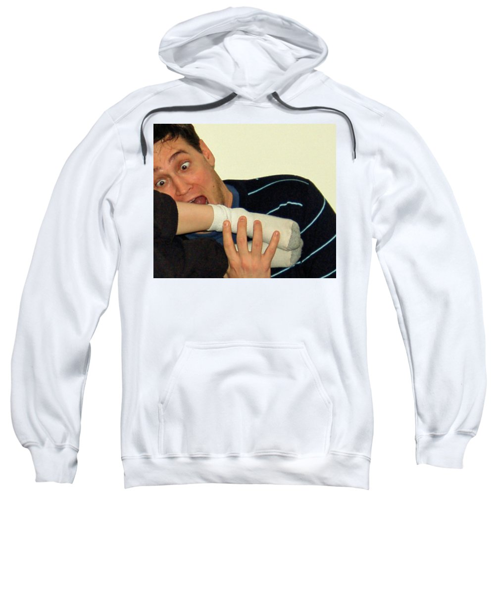 Humor Sweatshirt featuring the photograph I'll Have Another Leg Thanks by Vm Vassolo