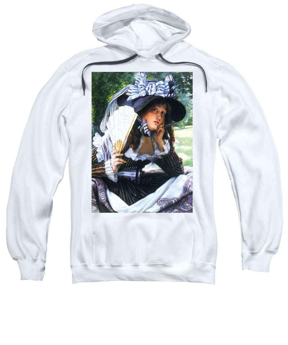 Hat Sweatshirt featuring the digital art img232 Jacques Joseph Tissot by Eloisa Mannion