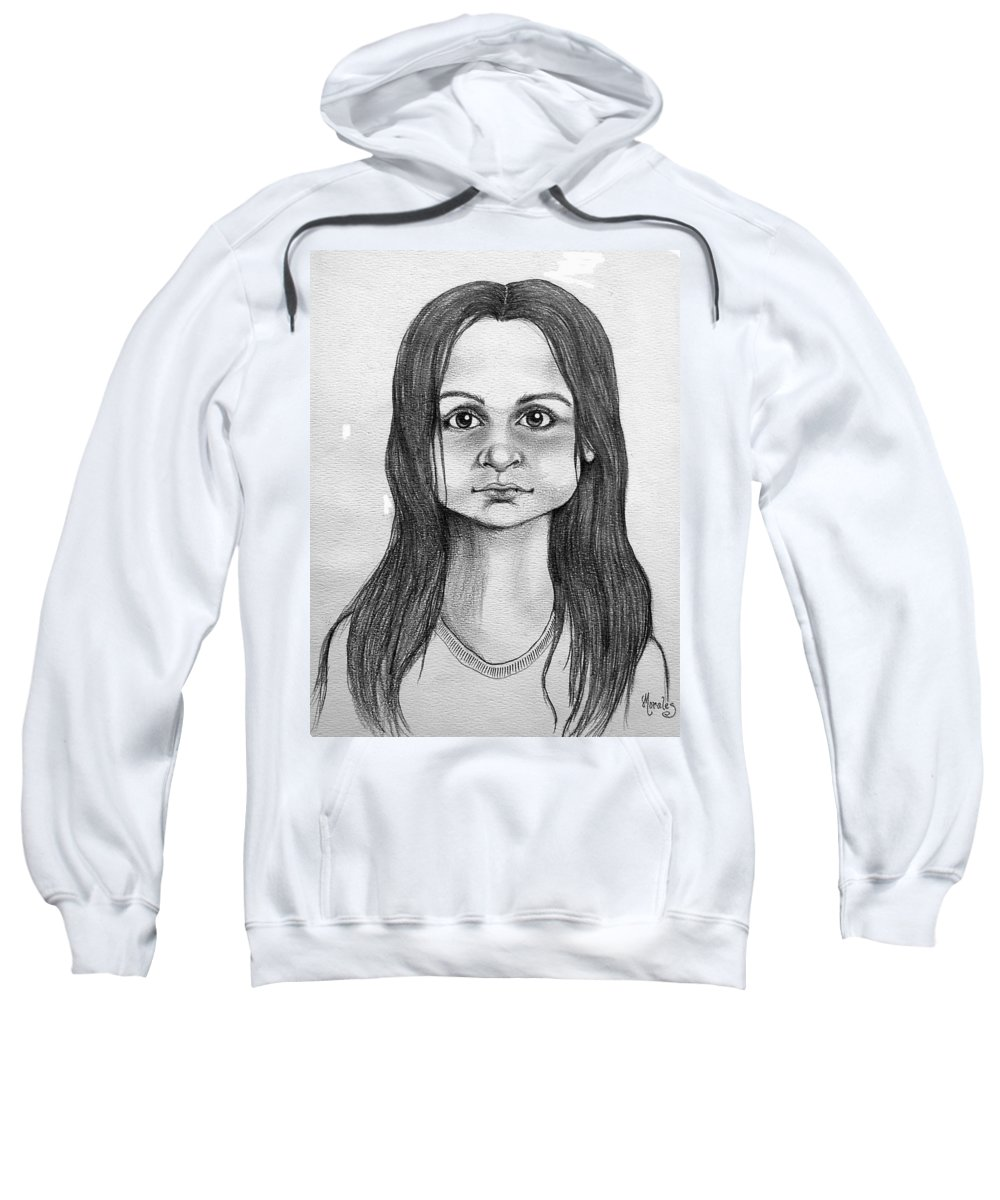 Portrait Sweatshirt featuring the drawing Immigrant Girl by Marco Morales