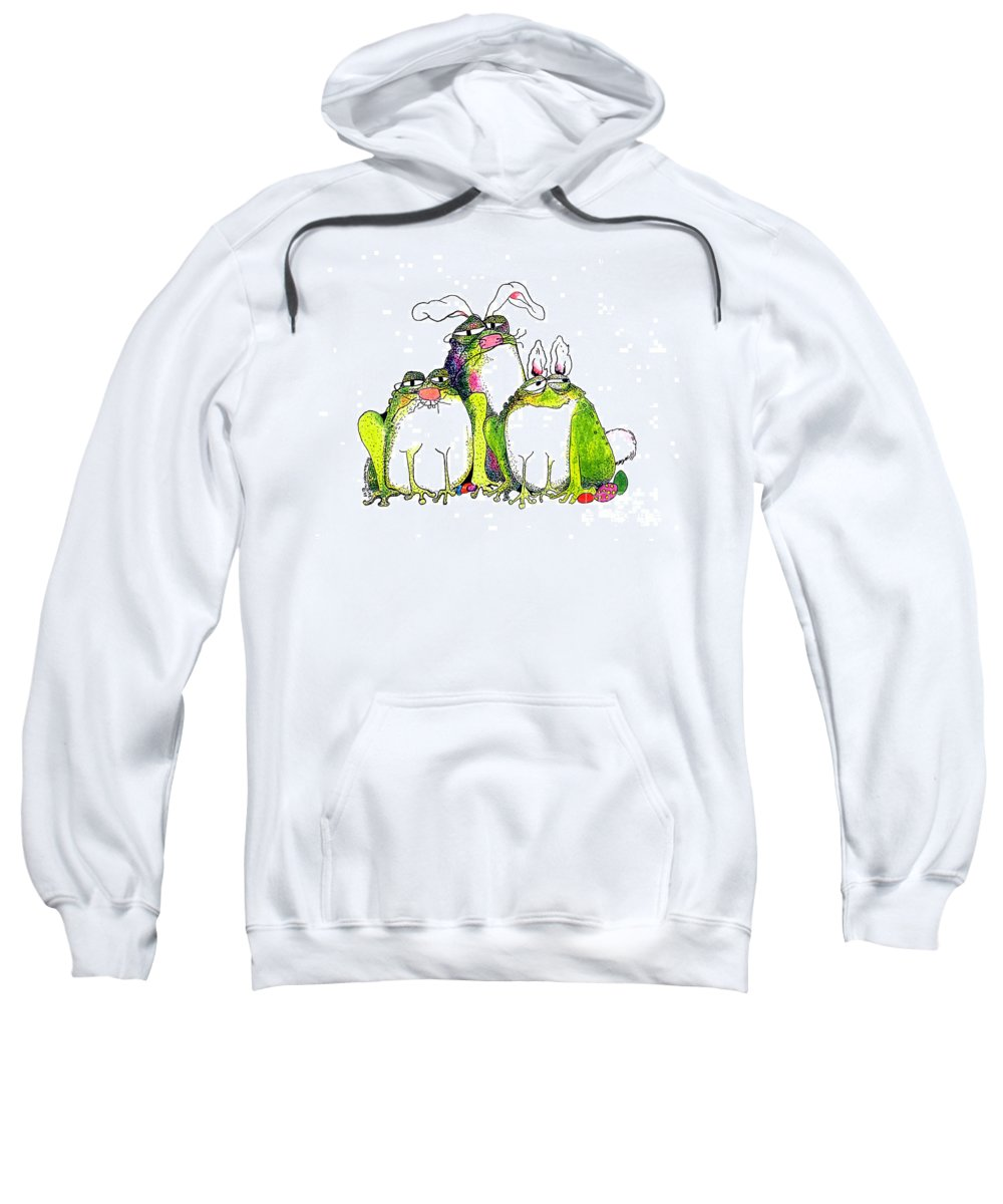 Easter Bunnies Sweatshirt featuring the painting In Disguise by Pat Saunders-White