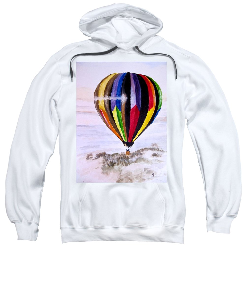 Hot Air Balloon Painting Sweatshirt featuring the painting In Flight by Carol Blackhurst
