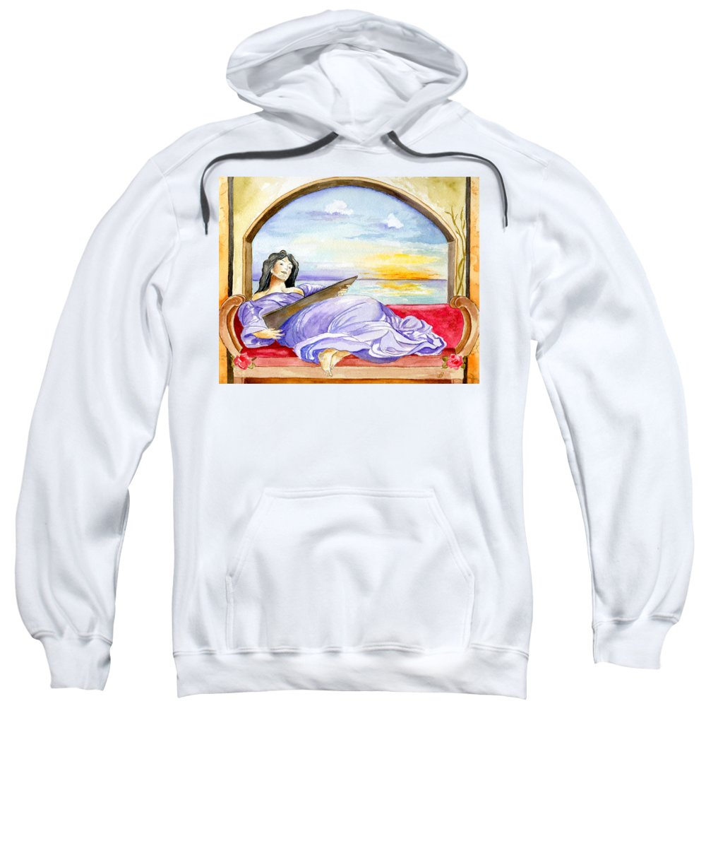Landscape Woman Romantic Figure Window Sea Sky Sweatshirt featuring the painting In Paradisum by Brenda Owen