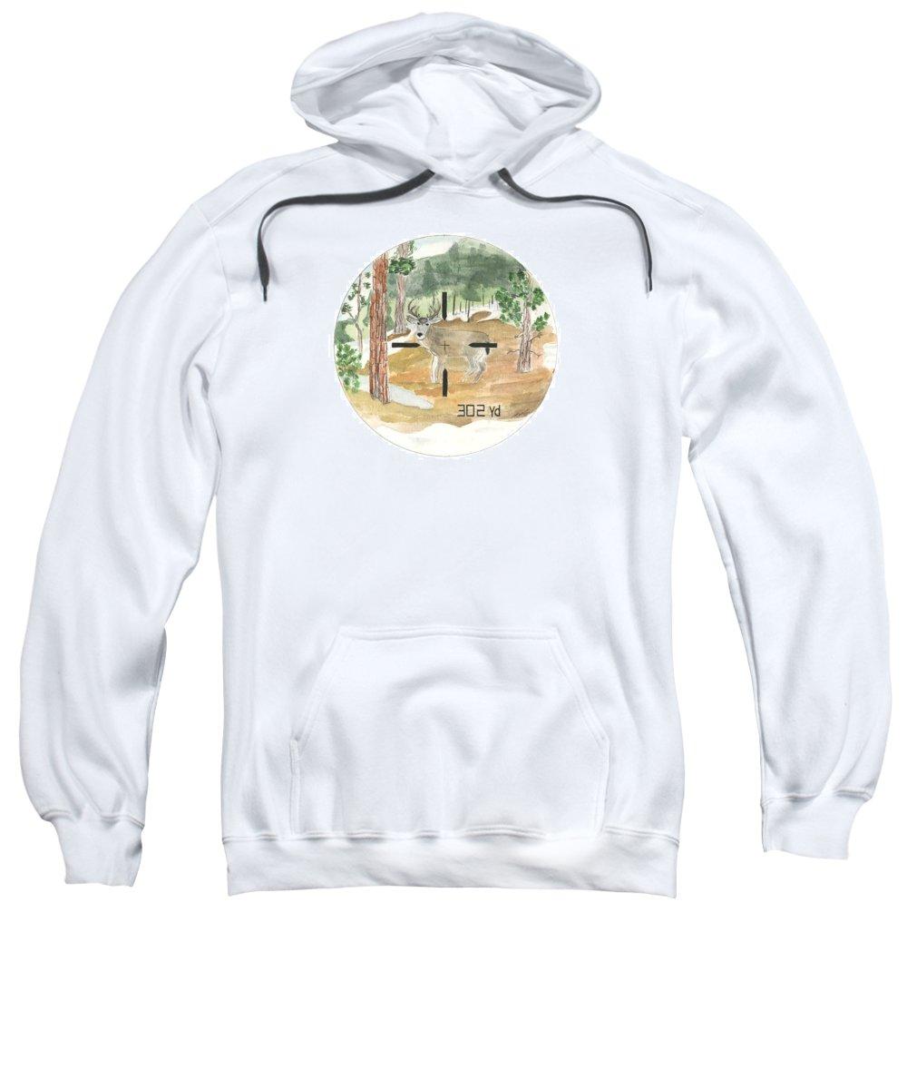 Range Sweatshirt featuring the painting In Range by Sara Stevenson
