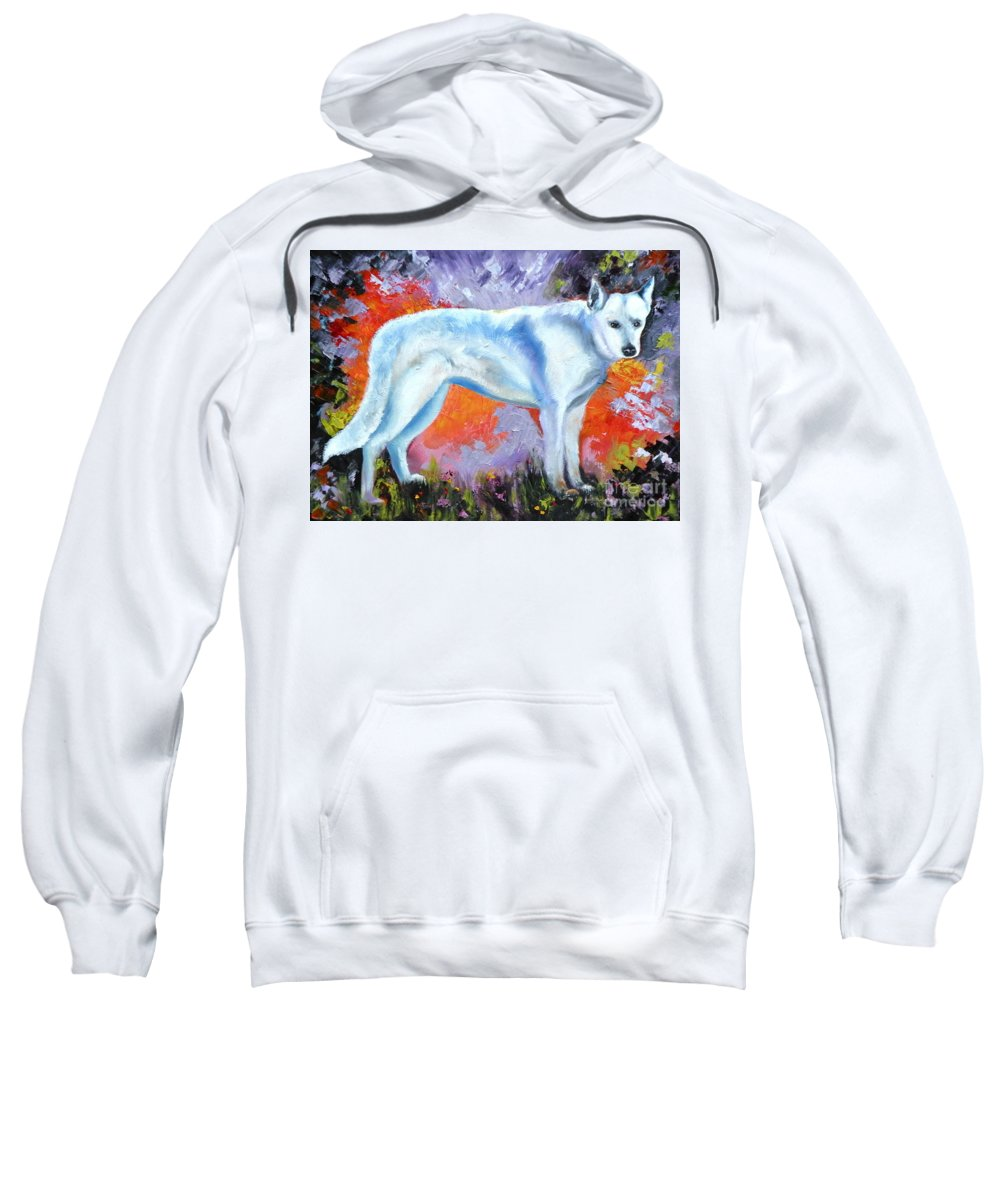 Dogs Sweatshirt featuring the painting In Shepherd Heaven by Susan A Becker