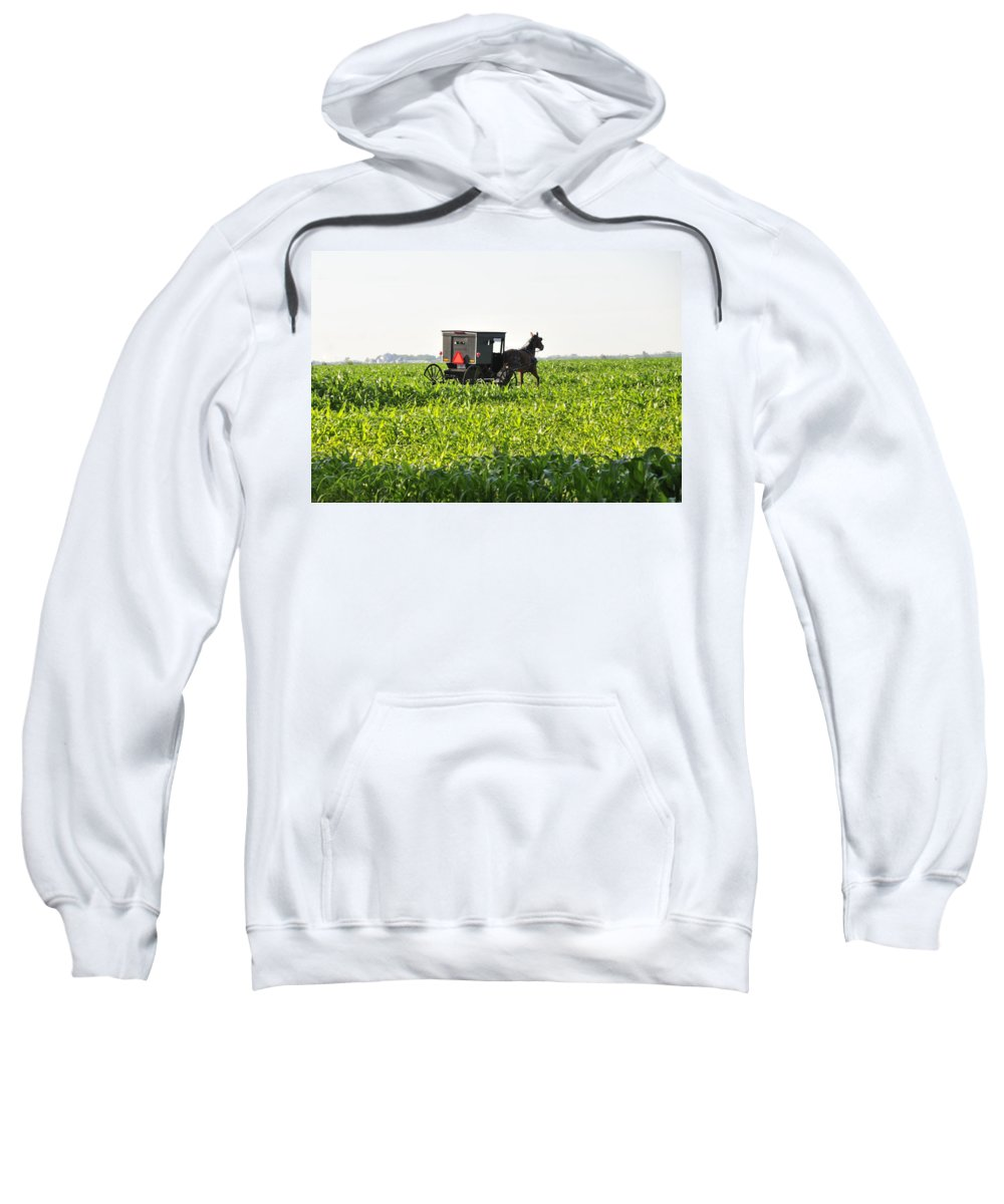 Amish Sweatshirt featuring the photograph In The Corn by David Arment