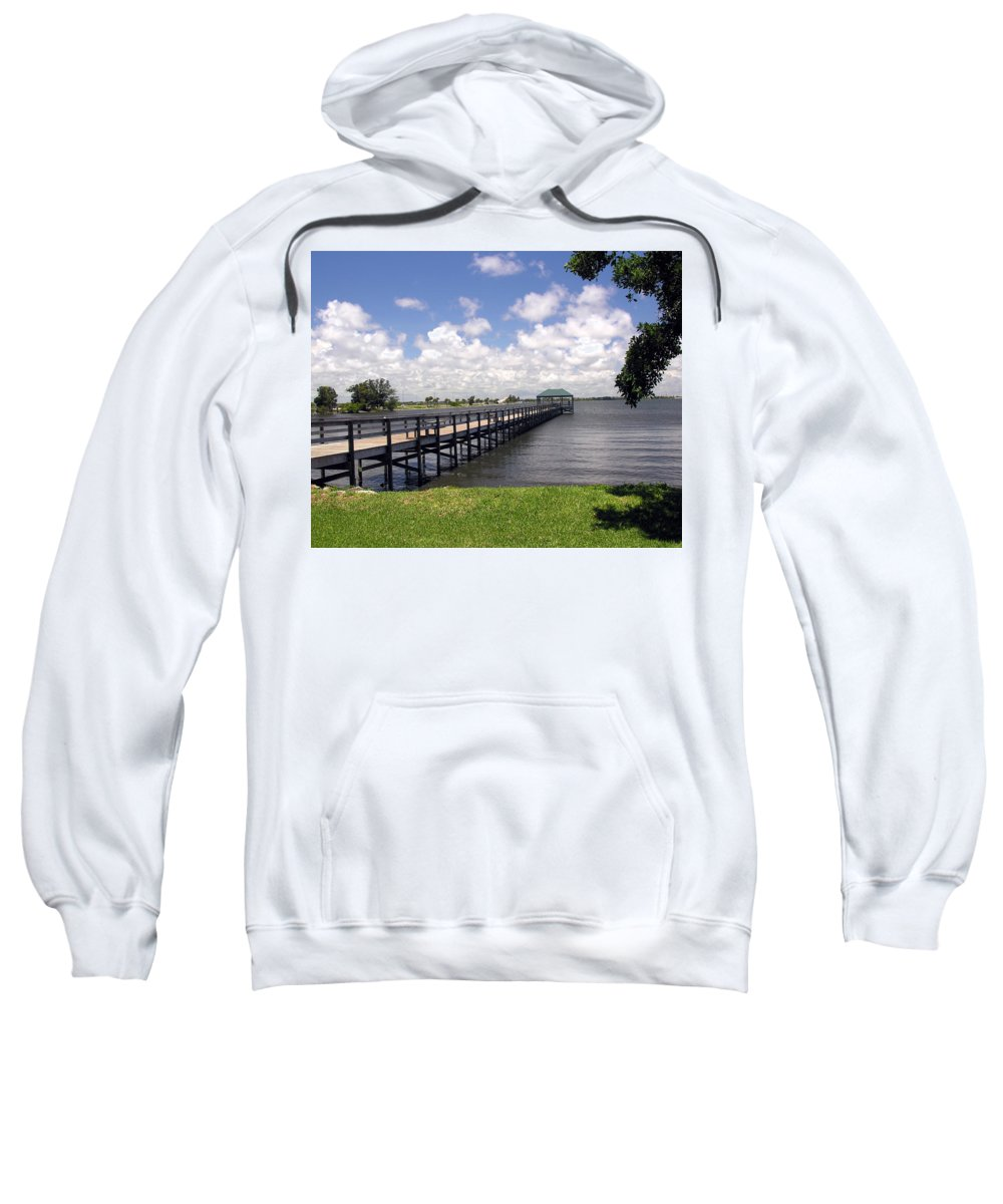 Indialantic; Pier; Florida; Brevard; Melbourne; Indian; River; Intercoastal; Waterway; Clouds South; Sweatshirt featuring the photograph Indialantic Pier On The Indian River Lagoon In Central Florida by Allan Hughes