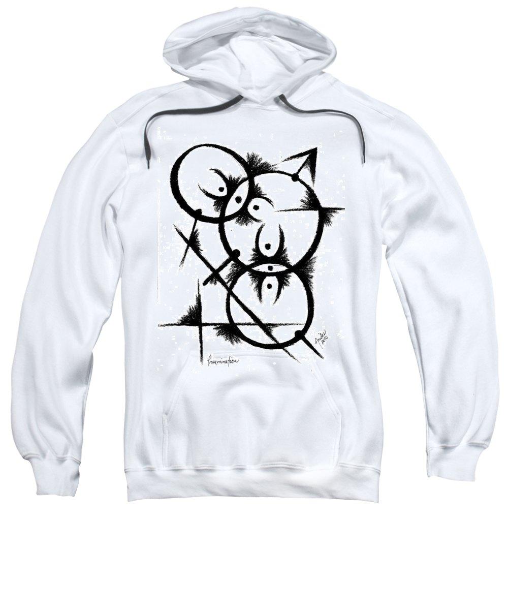 Modernist - Contemporany Sweatshirt featuring the drawing Insemination by Arides Pichardo