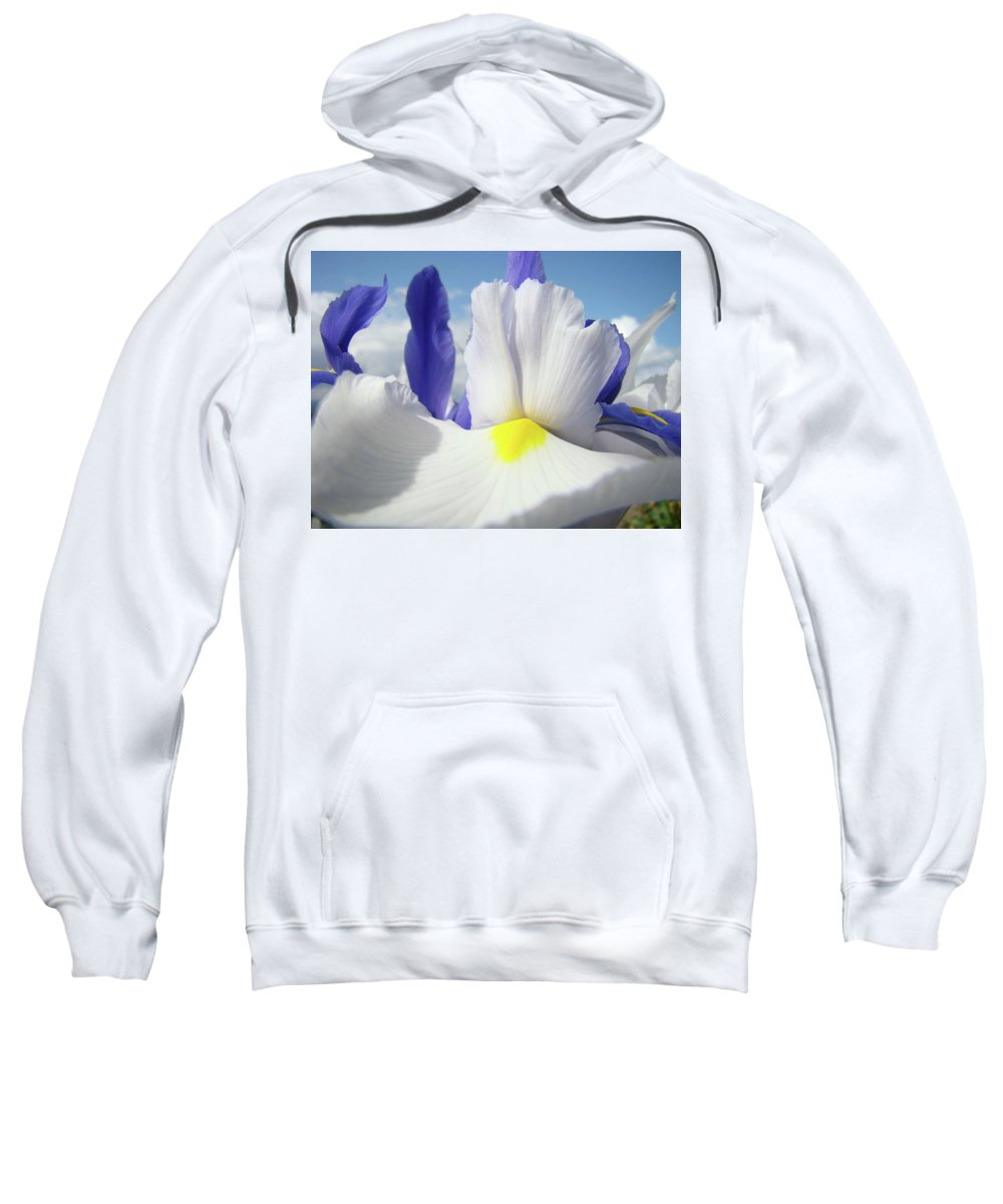 �irises Artwork� Sweatshirt featuring the photograph Irises White Iris Flowers 15 Purple Irises Art Prints Floral Artwork by Baslee Troutman