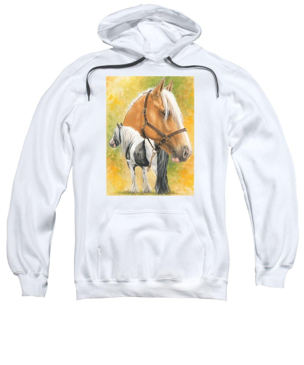 Draft Horse Sweatshirt featuring the mixed media Irish Cob by Barbara Keith