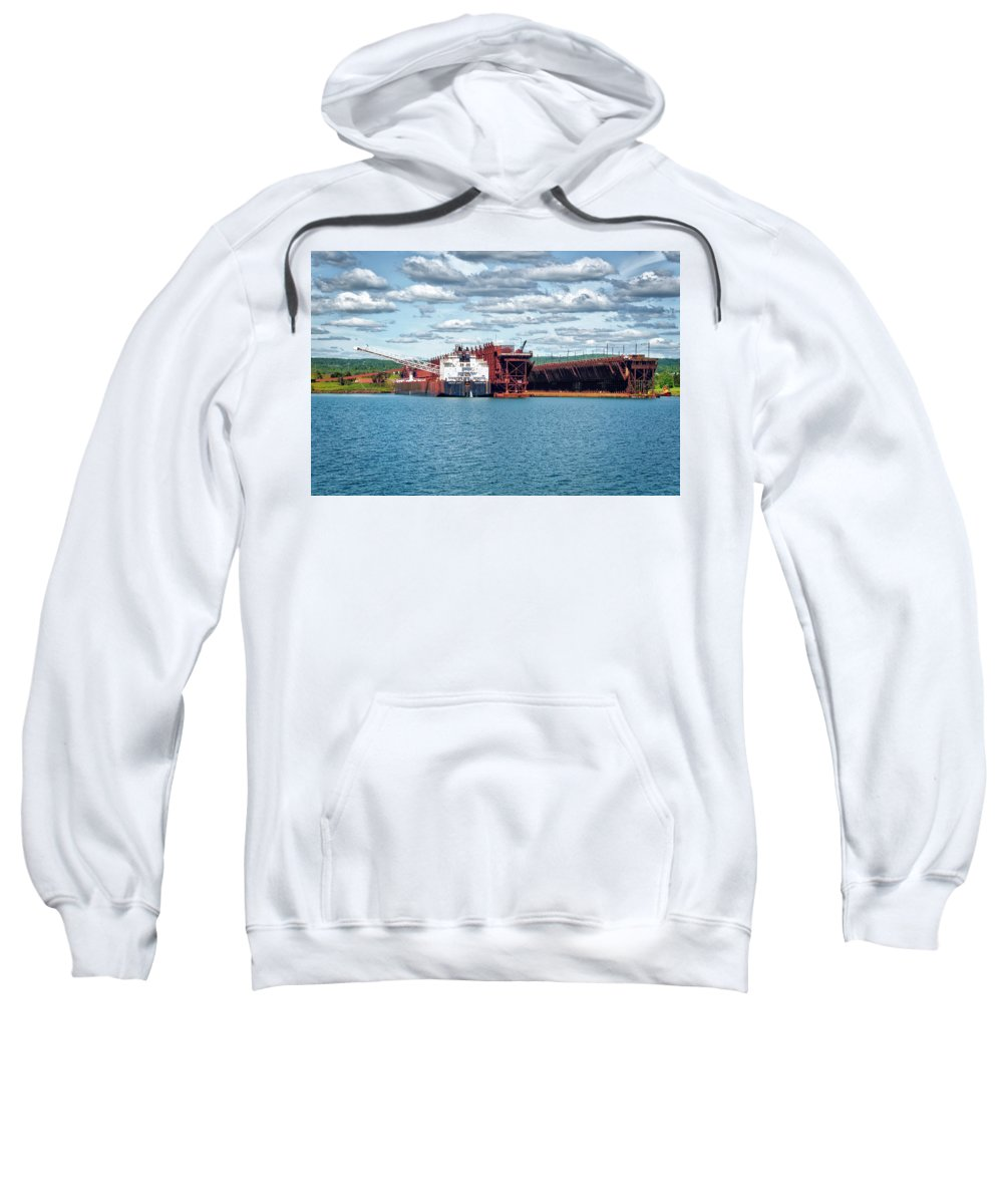 Americas Sweatshirt featuring the photograph Iron Ore Loading Onto Laker by Roderick Bley