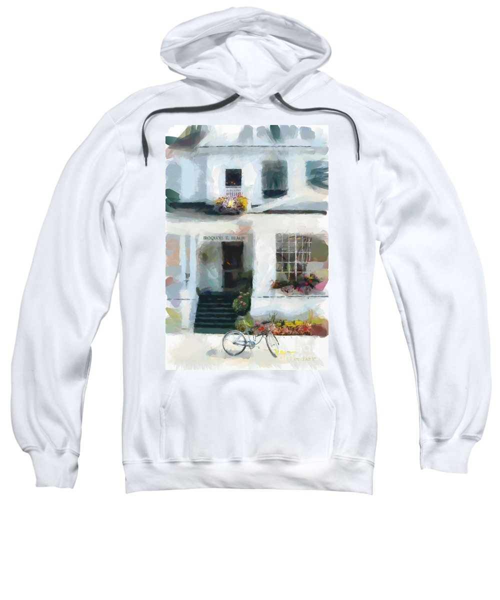 Island Sweatshirt featuring the painting Iroquois On The Beach - Mackinac Island Michigan by Anne Kitzman