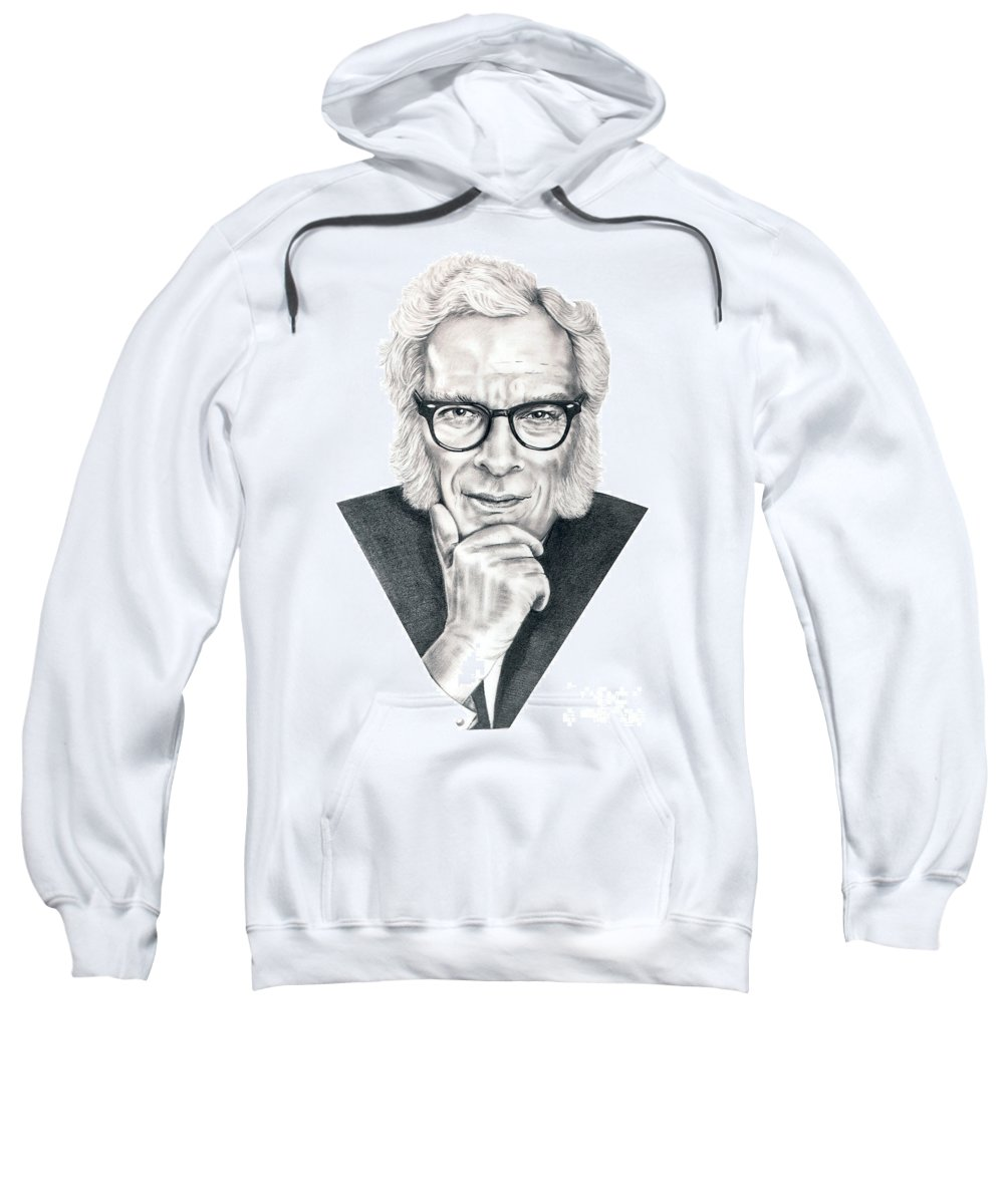 Portrait Sweatshirt featuring the drawing Isaac Asimov by Murphy Elliott