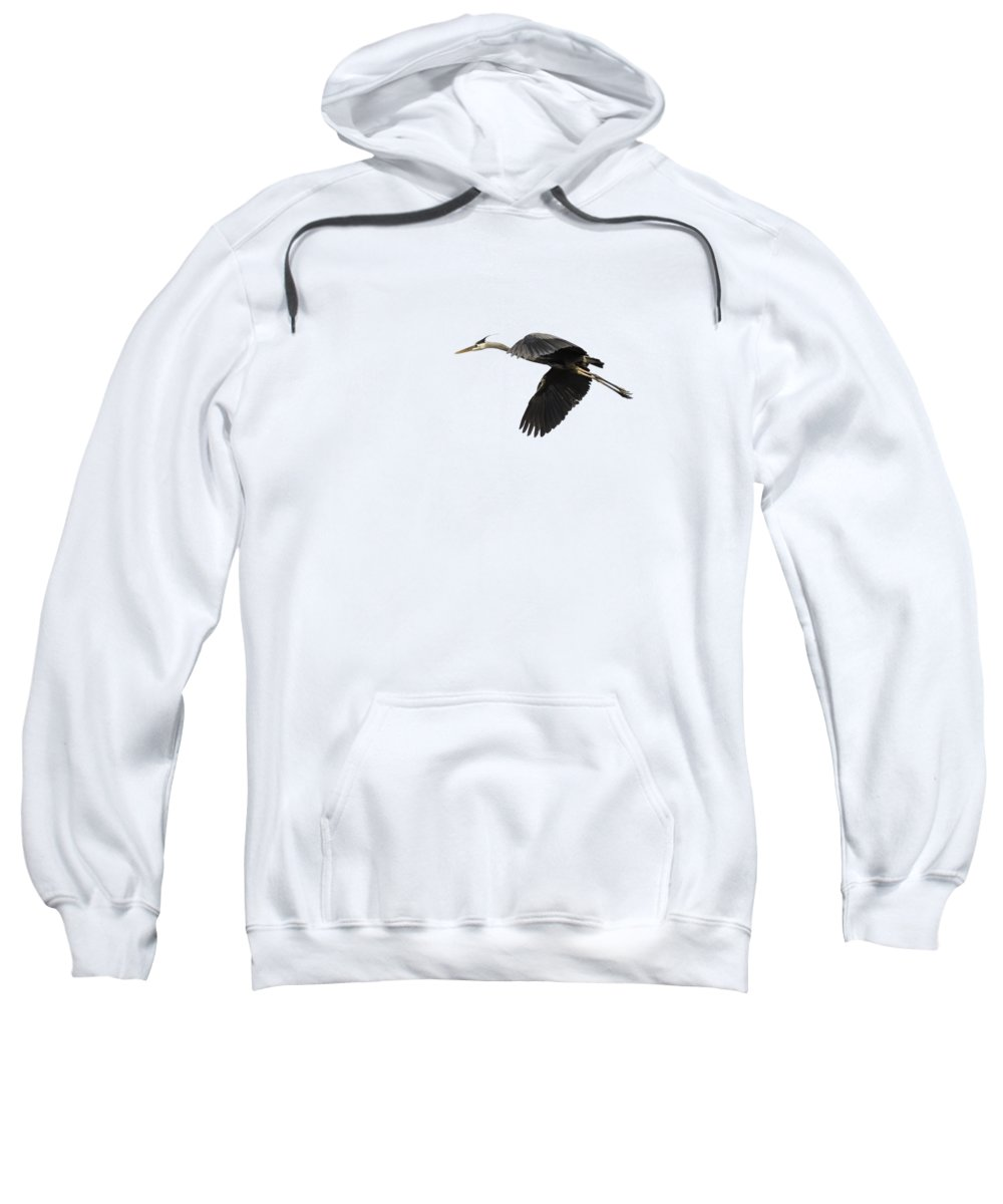 Great Blue Heron Sweatshirt featuring the photograph Isolated Great Blue Heron 2015-1 by Thomas Young