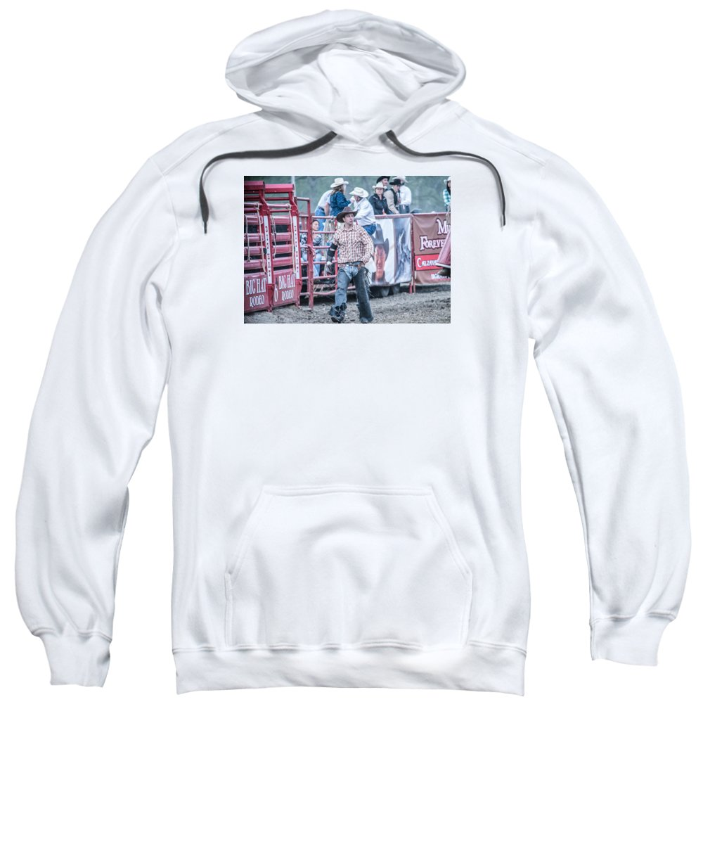 Orange & Blue Rodeo Sweatshirt featuring the photograph J by Terry Brown