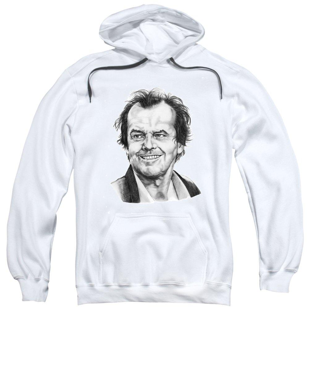 Portrait Sweatshirt featuring the drawing Jack Nickolson by Murphy Elliott