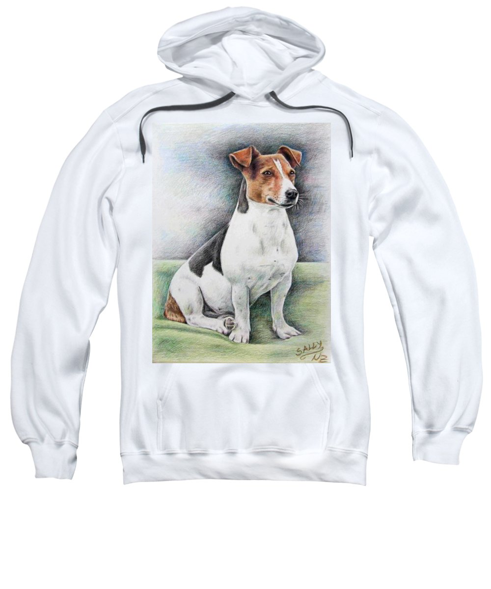 Dog Sweatshirt featuring the drawing Jack Russell Terrier by Nicole Zeug
