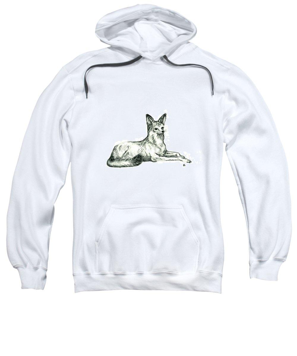 Wild Sweatshirt featuring the drawing Jackal Sketch by Shirley Heyn