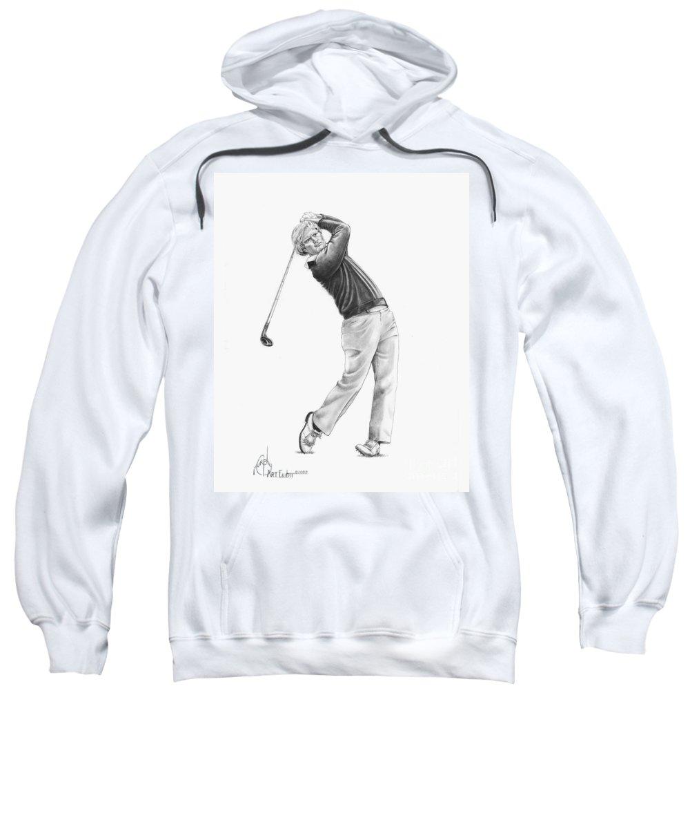 Jack Nickolas Sweatshirt featuring the drawing Jacl Nicklaus by Murphy Elliott