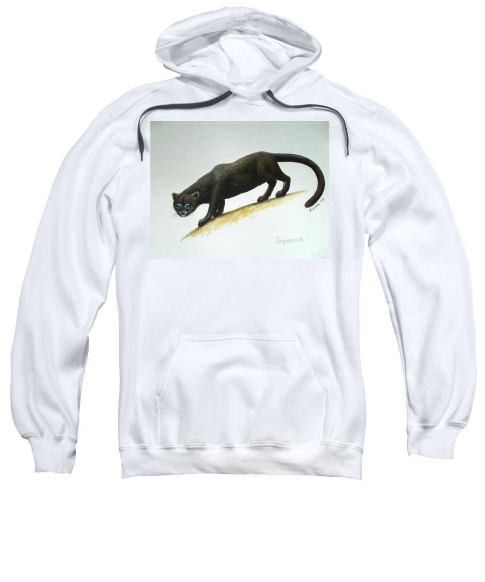 Jaguarundi Sweatshirt featuring the painting Jaguarundi by Christopher Cox