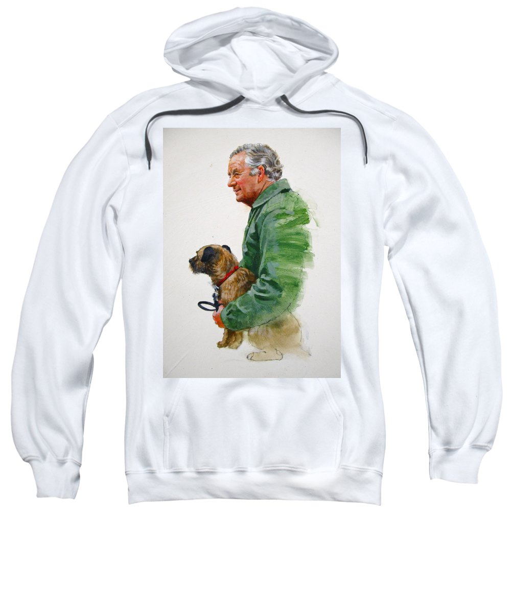 Portrait Sweatshirt featuring the painting James Herriot And Bodie by Cliff Spohn