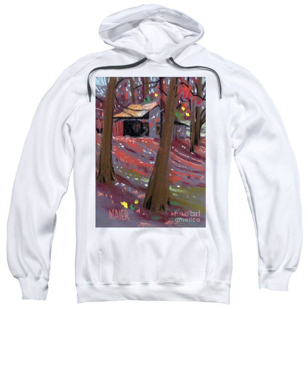 Barns Sweatshirt featuring the drawing James's Barns 3 by Donald Maier
