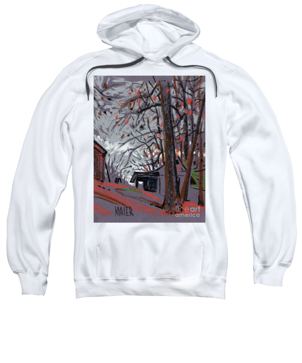 Barns Sweatshirt featuring the drawing James's Barns 7 by Donald Maier