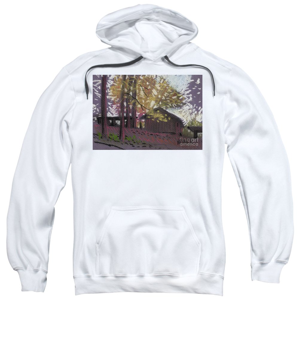 Pastel Sweatshirt featuring the drawing James's Barns 9 by Donald Maier