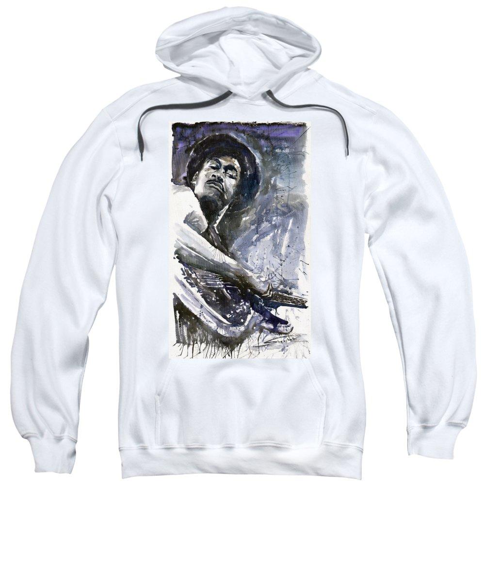 Jazz Sweatshirt featuring the painting Jazz Marcus Miller 01 by Yuriy Shevchuk