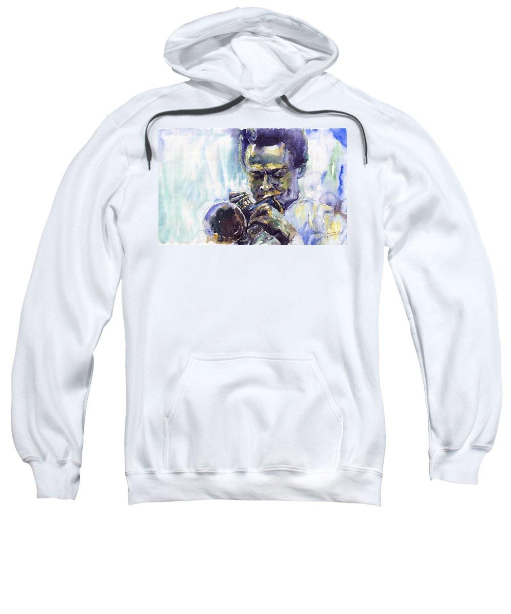 Jazz Miles Davis Music Musiciant Trumpeter Portret Sweatshirt featuring the painting Jazz Miles Davis 10 by Yuriy Shevchuk