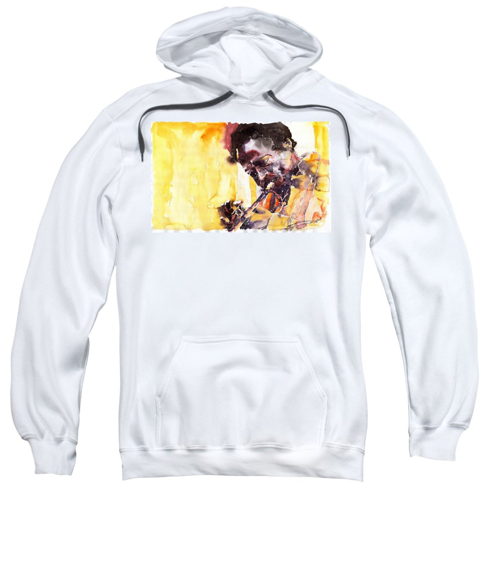 Jazz Music Watercolor Watercolour Miles Davis Trumpeter Portret Sweatshirt featuring the painting Jazz Miles Davis 6 by Yuriy Shevchuk