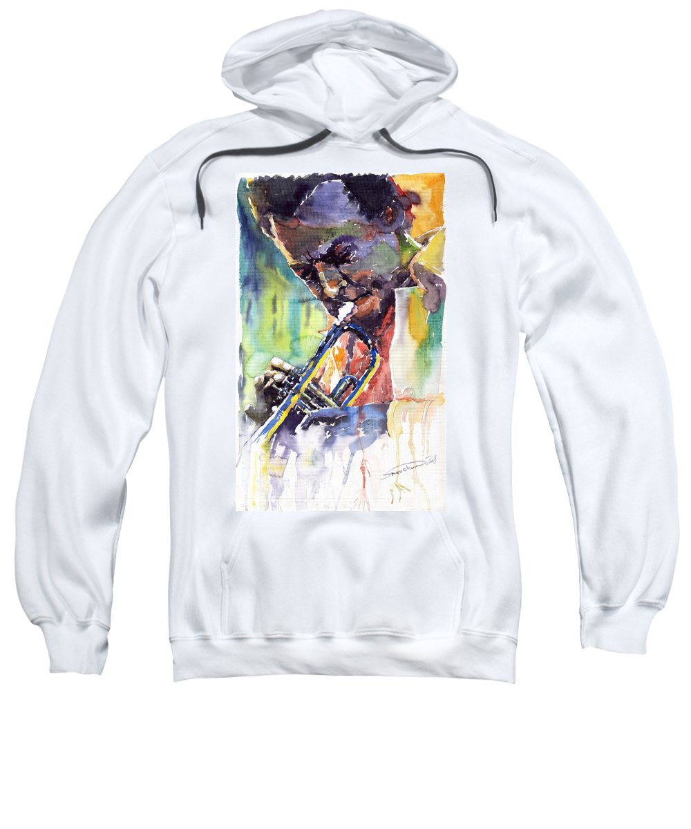Jazz Miles Davis Music Musiciant Trumpeter Portret Sweatshirt featuring the painting Jazz Miles Davis 9 Blue by Yuriy Shevchuk