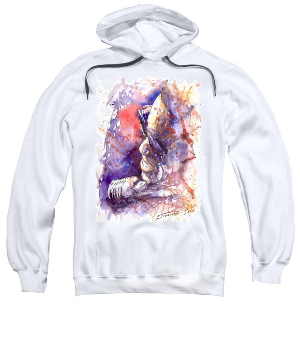 Portret Sweatshirt featuring the painting Jazz Ray Charles by Yuriy Shevchuk