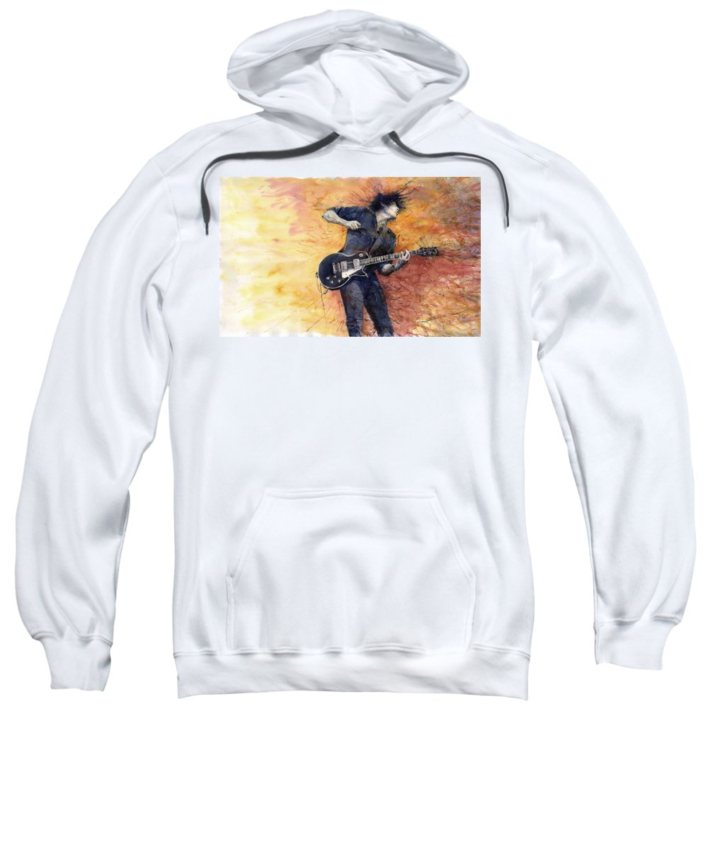 Figurativ Sweatshirt featuring the painting Jazz Rock Guitarist Stone Temple Pilots by Yuriy Shevchuk