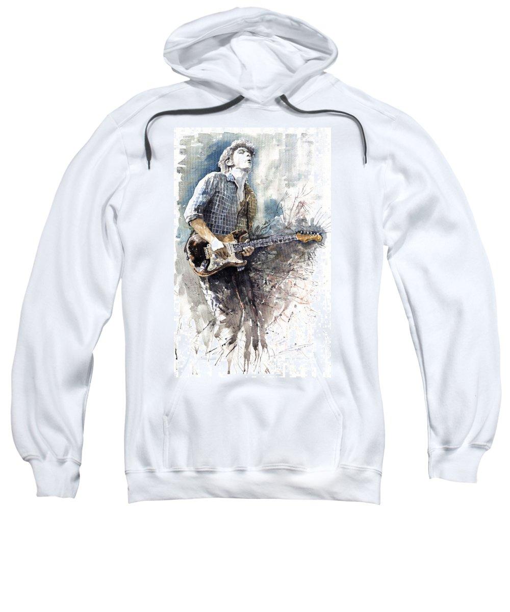 Jazz Sweatshirt featuring the painting Jazz Rock John Mayer 05 by Yuriy Shevchuk