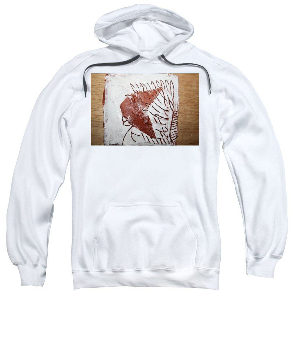 Jesus Sweatshirt featuring the ceramic art Jerry - Tile by Gloria Ssali