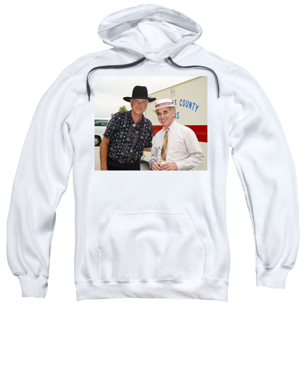 Americana Sweatshirt featuring the photograph Jerry Jeff Walker And S. David Freeman by Marilyn Hunt