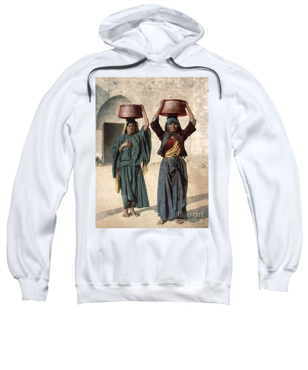 1895 Sweatshirt featuring the photograph Jerusalem: Milk Seller by Granger