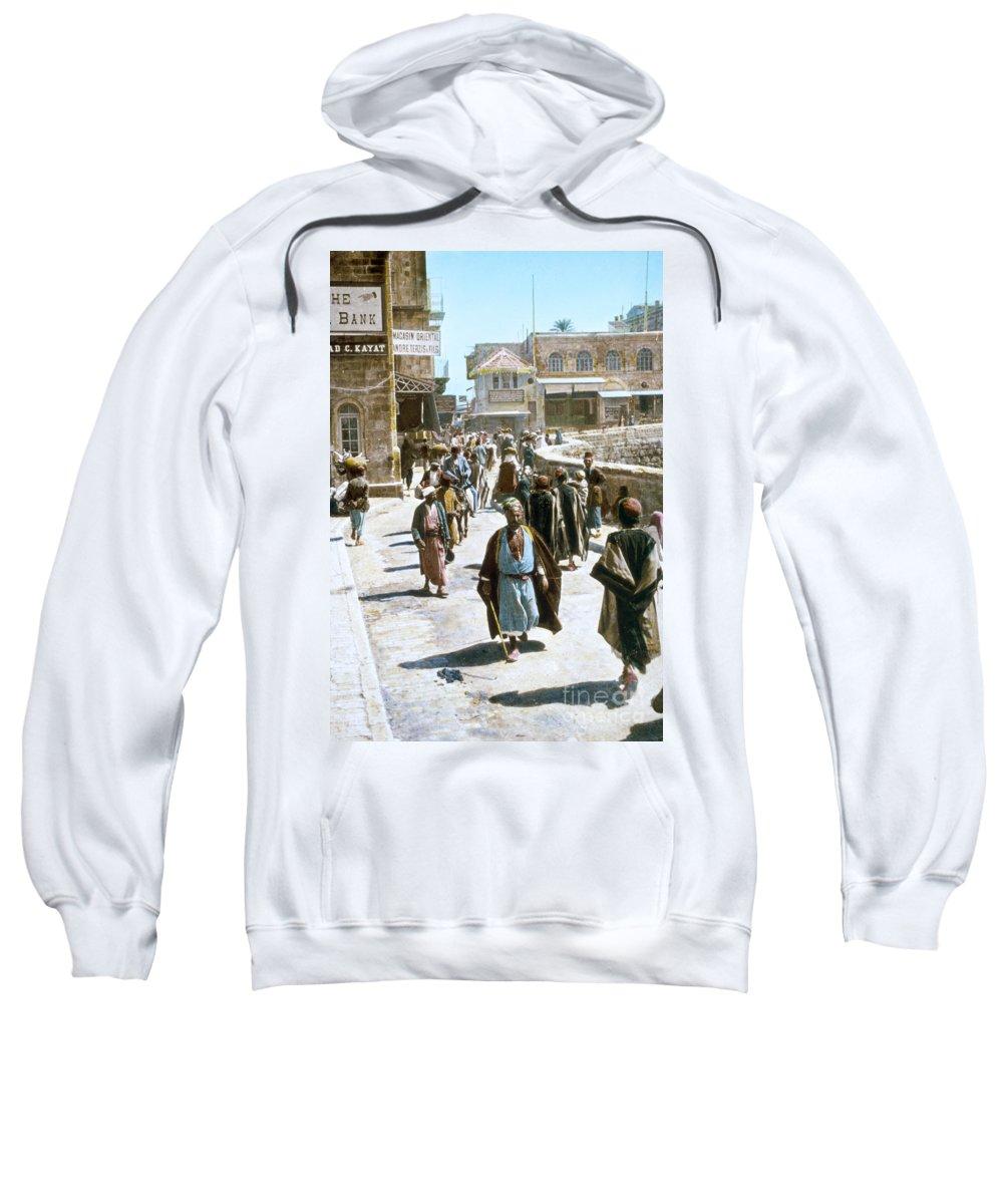 1950s Sweatshirt featuring the photograph Jerusalem Street Scene by Granger