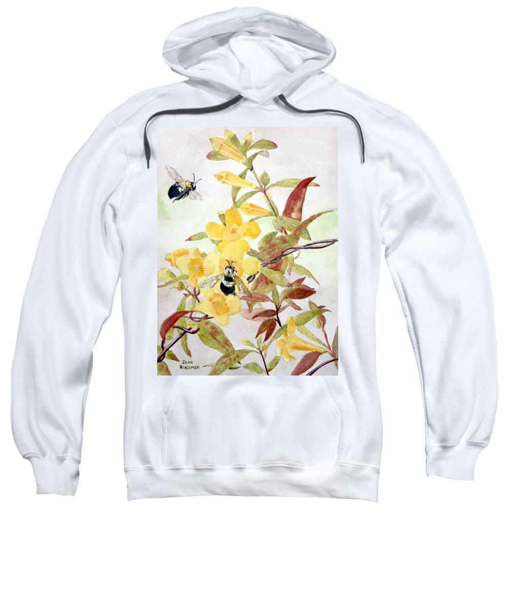 Jasmine Sweatshirt featuring the painting Jessamine Bee Mine by Jean Blackmer