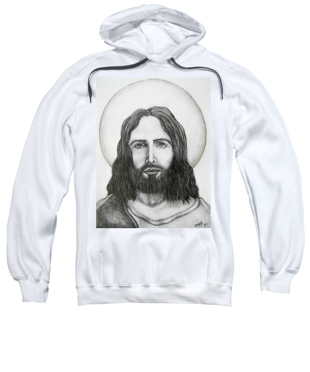 Michael Sweatshirt featuring the drawing Jesus Christ by Michael TMAD Finney