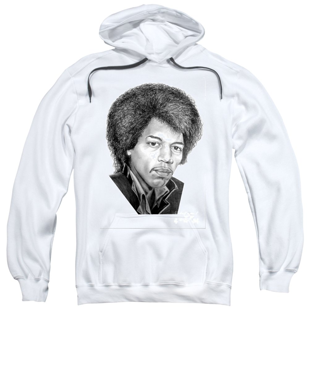 Jimmi Hendrix Sweatshirt featuring the drawing Jimmi Hendrix By Murphy Art. Elliott by Murphy Elliott